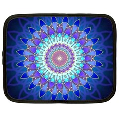 Power Flower Mandala   Blue Cyan Violet Netbook Case (large) by EDDArt