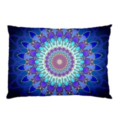 Power Flower Mandala   Blue Cyan Violet Pillow Case