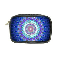 Power Flower Mandala   Blue Cyan Violet Coin Purse by EDDArt