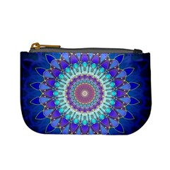 Power Flower Mandala   Blue Cyan Violet Mini Coin Purses by EDDArt