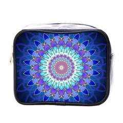 Power Flower Mandala   Blue Cyan Violet Mini Toiletries Bags by EDDArt