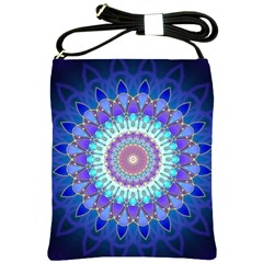 Power Flower Mandala   Blue Cyan Violet Shoulder Sling Bags by EDDArt