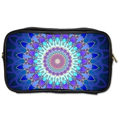 Power Flower Mandala   Blue Cyan Violet Toiletries Bags by EDDArt