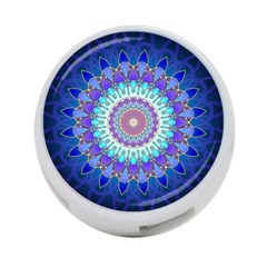 Power Flower Mandala   Blue Cyan Violet 4 Port Usb Hub (two Sides)  by EDDArt