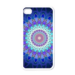 Power Flower Mandala   Blue Cyan Violet Apple Iphone 4 Case (white) by EDDArt