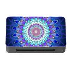 Power Flower Mandala   Blue Cyan Violet Memory Card Reader With Cf by EDDArt