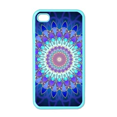 Power Flower Mandala   Blue Cyan Violet Apple Iphone 4 Case (color) by EDDArt