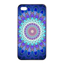 Power Flower Mandala   Blue Cyan Violet Apple Iphone 4/4s Seamless Case (black) by EDDArt