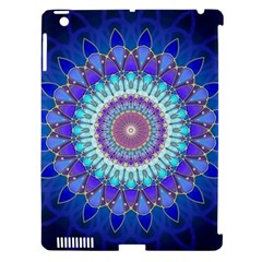 Power Flower Mandala   Blue Cyan Violet Apple Ipad 3/4 Hardshell Case (compatible With Smart Cover) by EDDArt