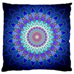 Power Flower Mandala   Blue Cyan Violet Large Cushion Case (One Side) Front