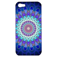Power Flower Mandala   Blue Cyan Violet Apple Iphone 5 Hardshell Case by EDDArt