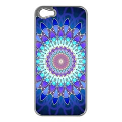 Power Flower Mandala   Blue Cyan Violet Apple Iphone 5 Case (silver) by EDDArt