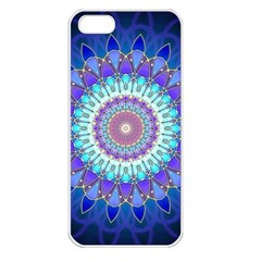 Power Flower Mandala   Blue Cyan Violet Apple Iphone 5 Seamless Case (white) by EDDArt