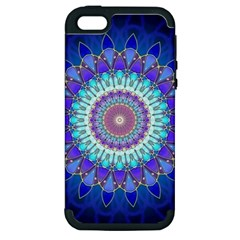 Power Flower Mandala   Blue Cyan Violet Apple Iphone 5 Hardshell Case (pc+silicone) by EDDArt