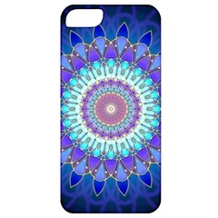 Power Flower Mandala   Blue Cyan Violet Apple Iphone 5 Classic Hardshell Case by EDDArt