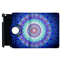 Power Flower Mandala   Blue Cyan Violet Apple Ipad 3/4 Flip 360 Case