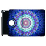 Power Flower Mandala   Blue Cyan Violet Apple iPad 3/4 Flip 360 Case Front