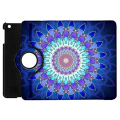Power Flower Mandala   Blue Cyan Violet Apple Ipad Mini Flip 360 Case by EDDArt