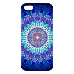 Power Flower Mandala   Blue Cyan Violet Apple Iphone 5 Premium Hardshell Case by EDDArt