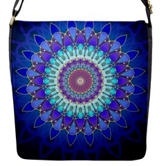 Power Flower Mandala   Blue Cyan Violet Flap Messenger Bag (s) by EDDArt