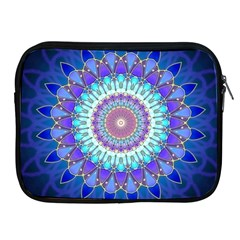 Power Flower Mandala   Blue Cyan Violet Apple Ipad 2/3/4 Zipper Cases by EDDArt