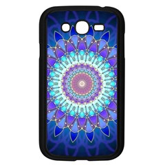 Power Flower Mandala   Blue Cyan Violet Samsung Galaxy Grand Duos I9082 Case (black) by EDDArt