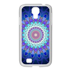 Power Flower Mandala   Blue Cyan Violet Samsung Galaxy S4 I9500/ I9505 Case (white) by EDDArt
