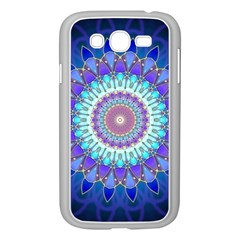 Power Flower Mandala   Blue Cyan Violet Samsung Galaxy Grand Duos I9082 Case (white) by EDDArt