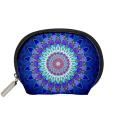 Power Flower Mandala   Blue Cyan Violet Accessory Pouches (small)  by EDDArt