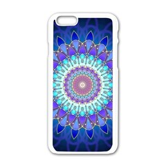 Power Flower Mandala   Blue Cyan Violet Apple Iphone 6/6s White Enamel Case by EDDArt