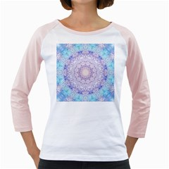 India Mehndi Style Mandala   Cyan Lilac Girly Raglans by EDDArt