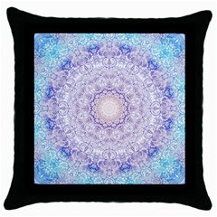 India Mehndi Style Mandala   Cyan Lilac Throw Pillow Case (black) by EDDArt