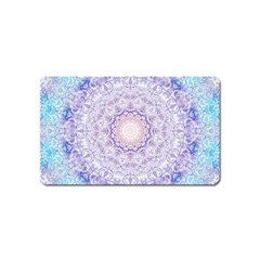 India Mehndi Style Mandala   Cyan Lilac Magnet (name Card) by EDDArt