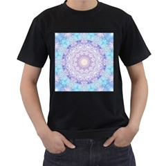 India Mehndi Style Mandala   Cyan Lilac Men s T Shirt (black) (two Sided) by EDDArt