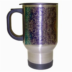 India Mehndi Style Mandala   Cyan Lilac Travel Mug (silver Gray) by EDDArt