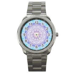 India Mehndi Style Mandala   Cyan Lilac Sport Metal Watch by EDDArt