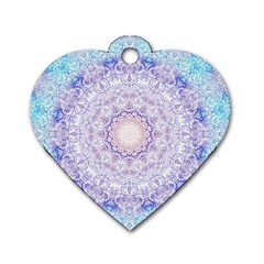 India Mehndi Style Mandala   Cyan Lilac Dog Tag Heart (two Sides) by EDDArt