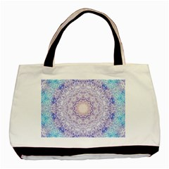 India Mehndi Style Mandala   Cyan Lilac Basic Tote Bag (two Sides) by EDDArt