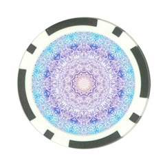 India Mehndi Style Mandala   Cyan Lilac Poker Chip Card Guard by EDDArt