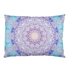 India Mehndi Style Mandala   Cyan Lilac Pillow Case by EDDArt