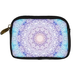 India Mehndi Style Mandala   Cyan Lilac Digital Camera Cases by EDDArt