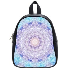 India Mehndi Style Mandala   Cyan Lilac School Bags (small)  by EDDArt