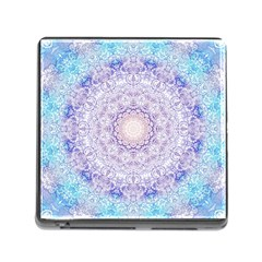 India Mehndi Style Mandala   Cyan Lilac Memory Card Reader (square) by EDDArt