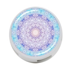 India Mehndi Style Mandala   Cyan Lilac 4 Port Usb Hub (two Sides)  by EDDArt