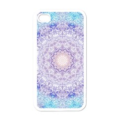 India Mehndi Style Mandala   Cyan Lilac Apple Iphone 4 Case (white) by EDDArt