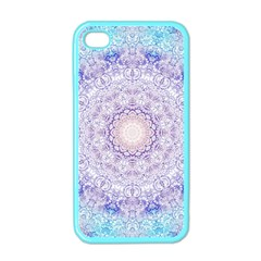 India Mehndi Style Mandala   Cyan Lilac Apple Iphone 4 Case (color) by EDDArt