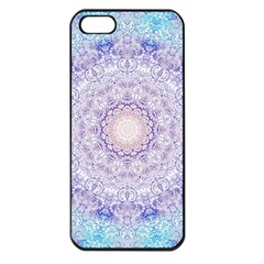 India Mehndi Style Mandala   Cyan Lilac Apple Iphone 5 Seamless Case (black) by EDDArt
