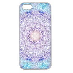 India Mehndi Style Mandala   Cyan Lilac Apple Seamless Iphone 5 Case (clear) by EDDArt