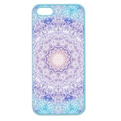 India Mehndi Style Mandala   Cyan Lilac Apple Seamless Iphone 5 Case (color) by EDDArt