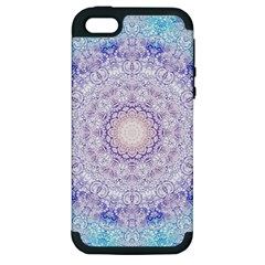 India Mehndi Style Mandala   Cyan Lilac Apple Iphone 5 Hardshell Case (pc+silicone) by EDDArt